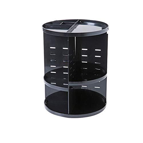 Mode 360 ° Rotation Boîte À Maquillage Organisateur Brosse Titulaire Bijoux Organisateur Cas Maquillage Boîte De Rangement Cosmétique (Color : Black)