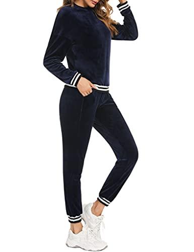 Sykooria Conjuntos Chándal Mujer de Terciopelo, Conjuntos Deportivos 2 Piezas Mujer Casual Manga Larga Sudadera y Pantalon Suave Traje de Pijama para Otoño Invierno