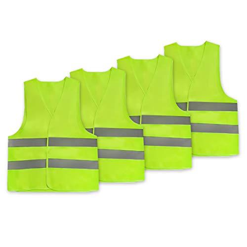 Vockvic Chalecos de Seguridad, Pack de 4 Alta Visibilidad 360 Grados Chaleco Reflectante con Tiras Grises Reflectantes, para Hombres y Mujeres Jogging al Aire Libre, Ciclismo, Caminar, Andar