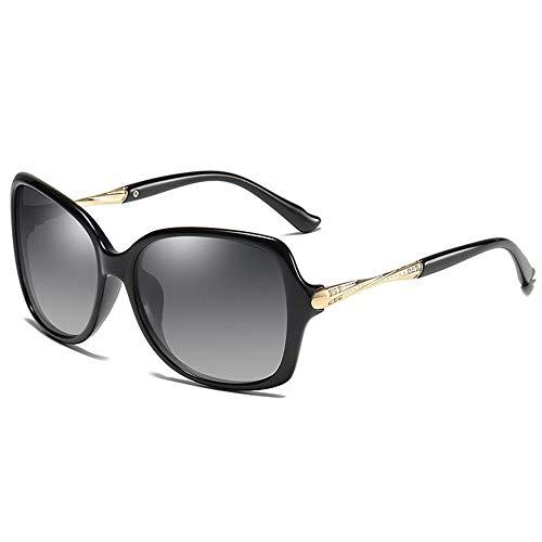 NgMik Gafas De Sol Polarizadas De Las Mujeres Gafas De Sol Polarizadas Marco Grande del Espejo De Conducción del Espejo Antideslumbrante De Compras Clásico (Color : Black, Size : One Size)