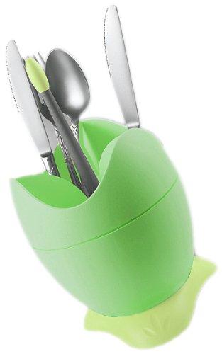 Biesse Casa afdruiprek voor bestek, met opvangbak en handvat, groen