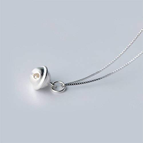 TYERY Collar con Colgante de Plata S925, Colgante de Campana Pequeño Personalizado, Cadena de Clavícula Corta Coreana, Regalo de Cumpleaños Femeninocolgante de plata s925, Los 40CM