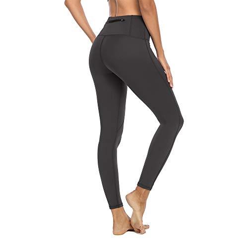 Halcurt Leggings de cintura alta para mujer, deporte, fitness, yoga, pantalones largos opacos, pantalones de yoga, pantalones de deporte, leggins con bolsillos gris XL