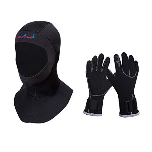 Toygogo Traje de Neopreno Snorkel Máscara Facial Completa Protección UV Solar Gorro Guantes de Buceo Suaves y Secado Rápido - XL
