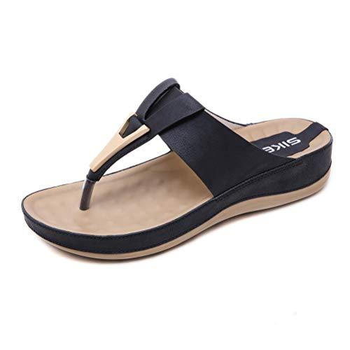 Sandalias de Metal más el tamaño Ocasional de Las Mujeres Embarazadas Zapatillas Aumento de Peso Ligero y Transpirable Masaje,Negro,40