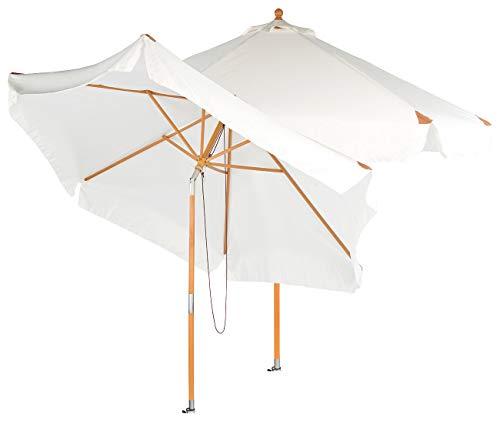 Royal Gardineer Balkon Sonnenschirm: 2er-Set neigbare Sonnenschirme mit Holzgestell, Ø 3 m, beige (Sonnenschirm Holz knickbar)