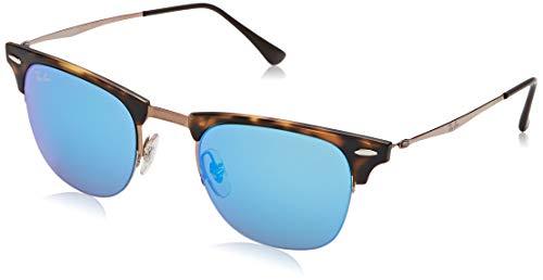 Ray-Ban Unisex Clubmaster Light Ray zonnebril, meerkleurig (frame: Havana/bruin, glazen: blauw gespiegeld 175/55), medium (fabrikantmaat: 49)