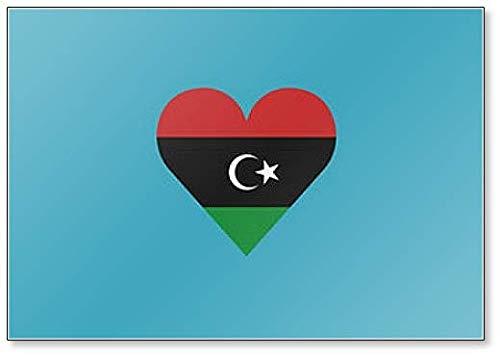 Libyen-Flagge in Herzform, klassischer Kühlschrankmagnet