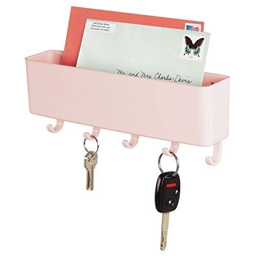 mDesign Colgador de llaves para cocina y pasillo – Llavero de pared compacto con 5 ganchos para colgar y bandeja para cartas – Colgador de llaves en plástico con estante para la pared – rosa claro