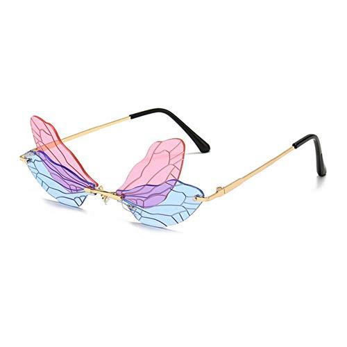 UKKD Gafas De Sol Mujeres Fashionless Dragonfly Wing Gafas De Sol Mujeres Vintage Clear Ocean Lens Eyewear Hombres Pink Amarillo Gafas De Sol Trasas Uv400-Pink Blue