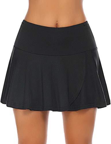 COOrun Damen Laufrock Sport Rock Sportskort Tennis Golf Skort Mini Skirt mit Innenhose Taschen Schwarz M