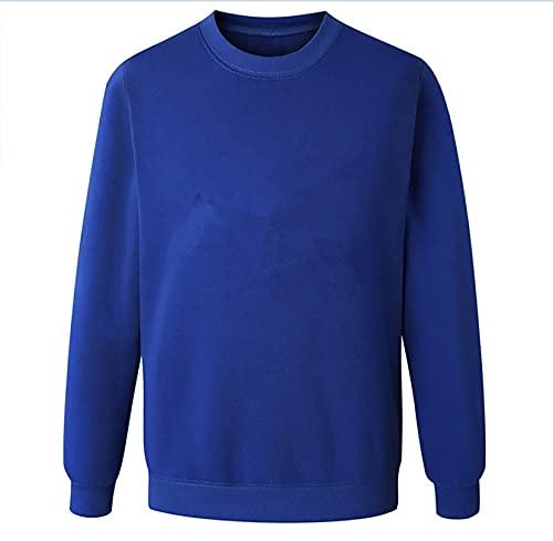 Suéteres para Mujer Jersey Ligero de Cuello Redondo de Color sólido de otoño S Blue