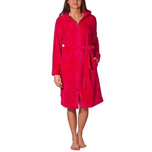 Aquarti Damen Bademantel mit Reißverschluss Lang, Farbe: Amarant, Größe: M