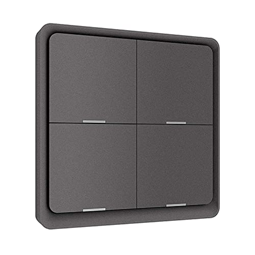 Tuya Smart ZigBee - Panel de interruptor de botón (4 vías), diseño de pared con pantalla inalámbrica y panel de 4 vías, interruptor de