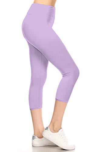 LYCPX128-Lavender Yoga Capri Solid Leggings, Plus Size