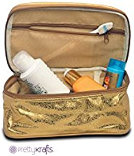 PrettyKrafts Synthetic Golden and Brown Vanity Pouch/Make-up Bag/Small Travel Bag - Brown