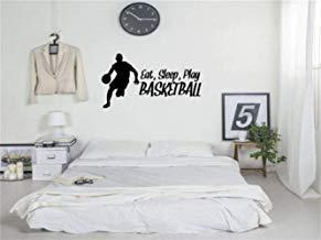 Vivityobert Calcomanía de pared con citas inspiradoras para comer, dormir, jugar al baloncesto para dormitorio, sala de estar, baloncesto, gimnasio