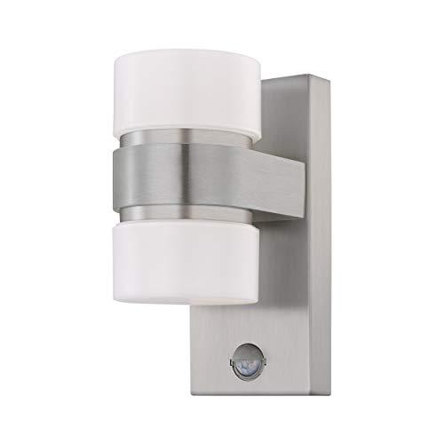 EGLO LED Außen-Wandlampe Atollari, 2 flammige Außenleuchte inkl. Bewegungsmelder, Sensor-Wandleuchte aus Alu, Edelstahl und Kunststoff, Farbe: Silber, weiß, IP44