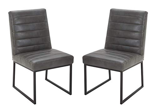 """Amazon Brand – Rivet Decatur Modern Faux Leather Dining Chair, Set of 2, 21""""W, Grey"""