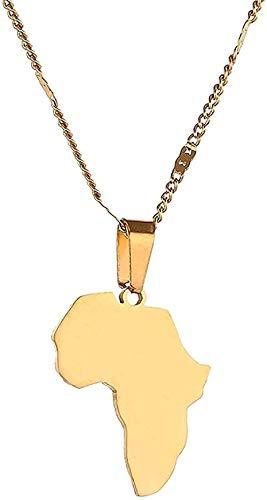 Collar de acero inoxidable con colgante de mapa africano, collar de mapa de África, collar de joyería para mujer, longitud 50 cm