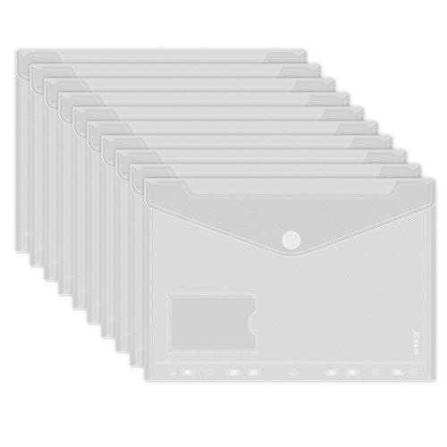 Sinoest 20tlg A4 Dokumenten-Mappe Dokumententaschen weiss zum Abheften mit Klett-Verschluss und Eurolochung Brief-Taschen aus PP farbig sortiert