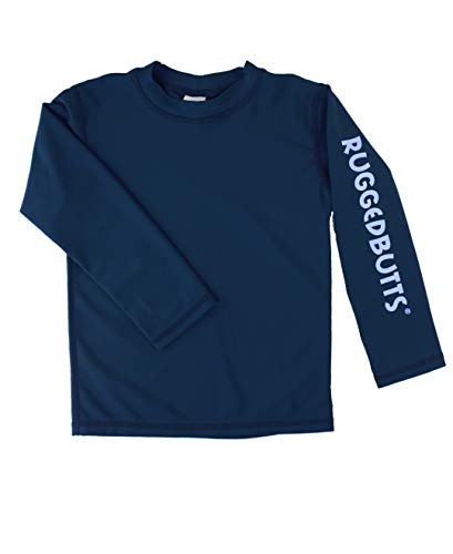 RUGGEDBUTTS Baby/Toddler Boys Navy Long Sleeve UPF 50+ Sun Protective Rash Guard Surf Swim Shirt - 18-24m