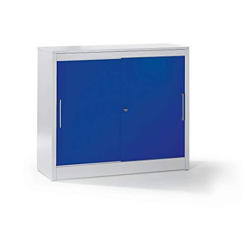 Mauser Schiebetürschrank - Sideboard mit 2 Fachböden - HxBxT 1025 x 1200 x 420 mm, lichtgrau / ultramarinblau - Büroschrank Büroschränke Mehrzweckschrank Mehrzweckschränke Schiebetürschrank Schiebetürschränke Schrank Schränke Stahlschrank Stahlschränke