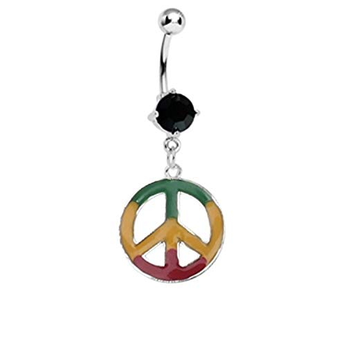 BodyJ4You Black Crystal Rasta Peace Sign Belly Ring 14G