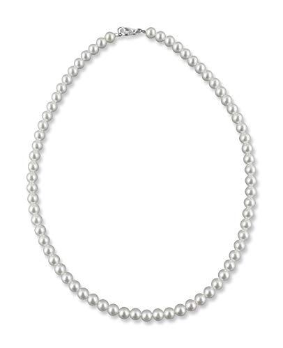 Rivelle Damen Perlenkette 42 cm Perle 6 mm weiß Kette Perlen Collier Halskette Necklace Modeschmuck Hochzeit