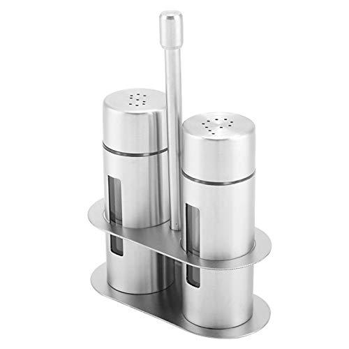 Recipiente para condimentos de acero inoxidable, 2 saleros y pimenteros con rejilla para especias, dispensador de especias con orificios para verter, recipiente para tarro organizador de especias para