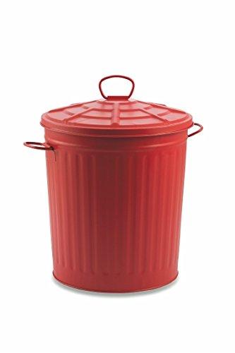 Galileo Casa 2194868 Cubo de basura de metal rojo 18 l, rojo, no