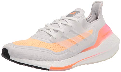adidas Women's Ultraboost 21 Running Shoes, Crystal White/Crystal White/Acid Orange, 8