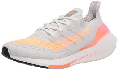 adidas womens Ultraboost 21 Running Shoes, Crystal White/Crystal White/Acid Orange, 7.5 US