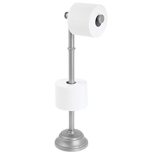 mDesign Porta carta igienica per bagno autoportante – Porta rotoli di carta per 3 rotoli anche grandi – Porta carta per il bagno in resistente plastica – Argento