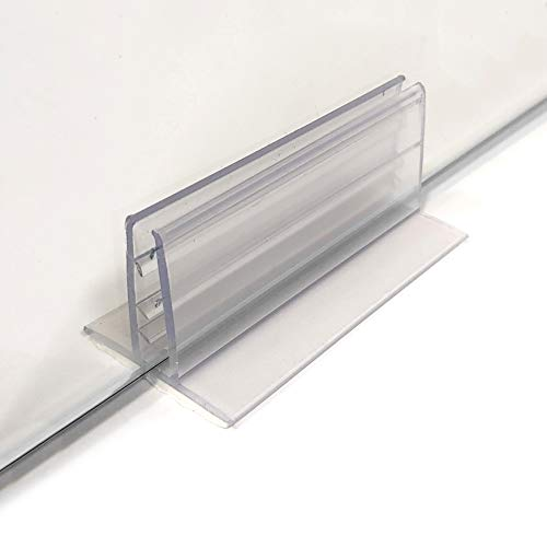 Large Adhesive Sneeze Guard Holders, Stable Glass Stands to Fasten Acrylic Panels & Plexiglass Sheets 3/16' to 1/4' Thick, 3' L x 1.25' H, 6 Pack