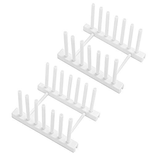 2 Pack Dish Rack Lid Organizer,Premium ABS Plate Rack Stand Pot Lid Holder Drying Drainer Storage Holder Stand Kitchen Cabinet Organizer for Bowl,Cup,Cutting Board,Pot Lid and more,White