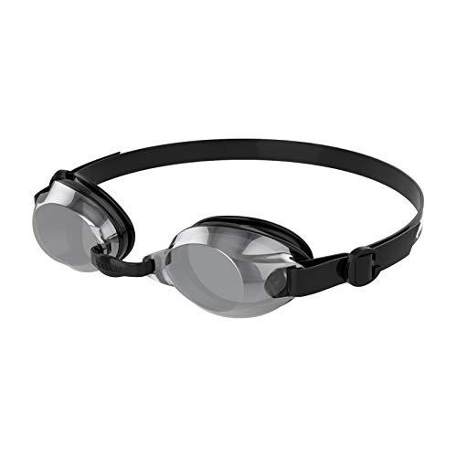 Speedo Specchio Jet, Occhialini Unisex-Adult, Nero/Bianco/Cromo, Taglia Unica