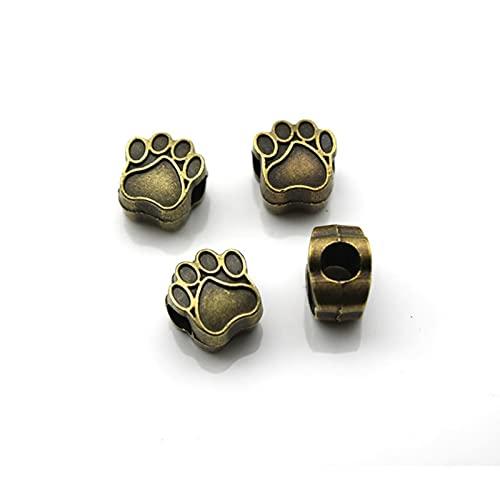 YMXCNM 10 Uds 4,5mm Perro Pata de Oso Abalorios Cuentas espaciadores de Metal Cuentas para joyería Que Hace Ajuste Pulseras Collar joyería