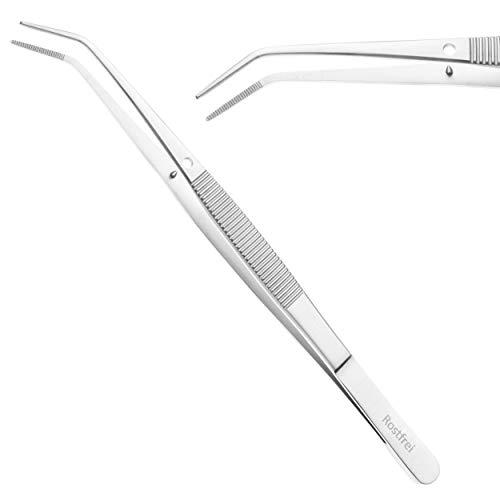 Schwertkrone gebogene Pinzette anatomisch mit Führungsstift gekröpft gerieft - Edelstahl rostfrei