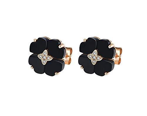 Kronleuchter Pendientes de trébol Negro de Cuatro Hojas Pendientes de Plata de Ley para el Temperamento de San Valentín Regalo de cumpleaños para la Novia (Color : Electroplated Rose Gold Earrings)