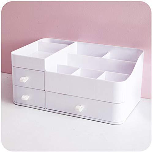 Cosmetische opbergdoos Juwelendoos Huishouden Grote capaciteit Desktop Bureau Opberglade Oogschaduw Lippenstift Plank Slaapzaal Artefact,White
