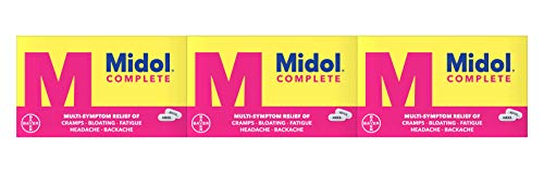Midol Complete Menstrual Pain Relief Caplets with Acetaminophen for Menstrual Symptom Relief - 40 Count (Pack of 3), Packaging May Vary