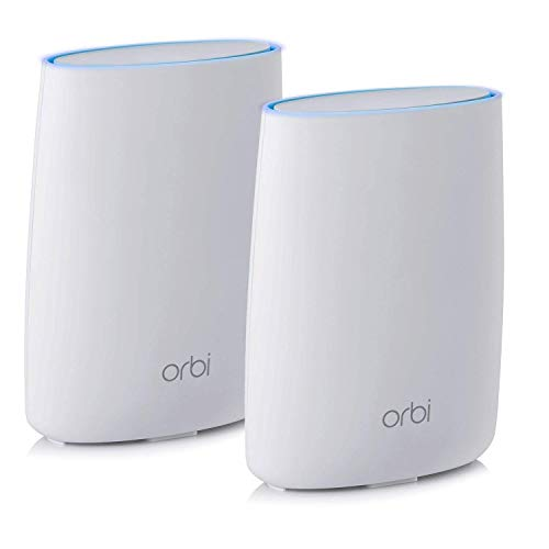 NETGEAR Orbi Tri-band Whole Home Mesh WiFi System with 3Gbps Speed (RBK50) – Router & Extender Replacement Covers Up to 5,000 sq. ft., 2-Pack Includes 1 Router & 1 Satellite White