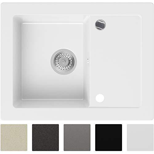 Granitspüle Weiß 64 x 49 cm, Spülbecken + Siphon Automatisch, Küchenspüle ab 45er Unterschrank in 5 Farben mit Siphon und Antibakterielle Varianten, Einbauspüle von Primagran