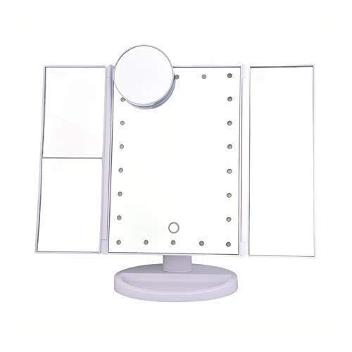 XuetongXT 22 Lights Touch Screen Makeup Mirror 1X/2X/3X/10X Magnification Lighting Desktop Folding Makeup Mirror Adjustable Mirror Mirror (Color : 01 with 10X)