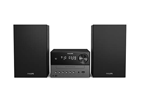 Philips M3505/12 Mini Stereoanlage mit CD und Bluetooth (DAB+/UKW Radio, USB, MP3-CD, USB-Anschluss zum Laden, 18 W, Bassreflexlautsprecher, Digitale Sound Kontrolle) - 2020/2021 Modell