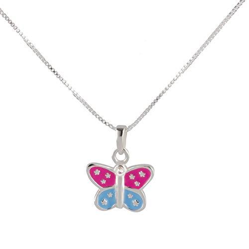 FIVE-D Set collana per bambini con ciondolo a farfalla colorata, argento 925, in astuccio portagioie, lunghezza collana: 36 cm.