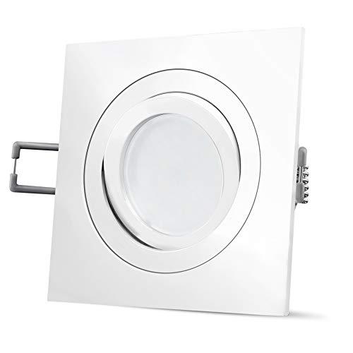 SSC-LUXon QF-2 Einbauleuchte LED quadratisch schwenkbar in weiß - mit Milky LED GU10 5W warmweiß 230V - Einbauspot Deckenspot