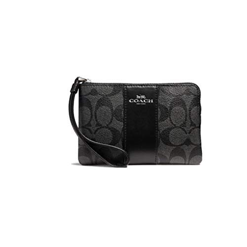 Coach F58035 Corner Zip Wristlet in Signature Coated Canvas with Leather Stripe Black Smoke - Black