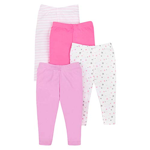 Lamaze Organic Baby Baby Girls Pull On 4 Pack Leggings, Pink Solid/Striped, 18 Months